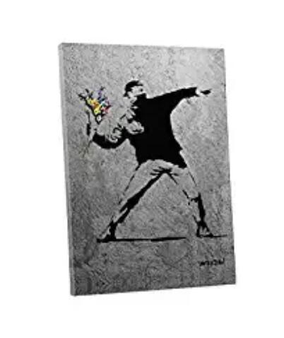 Banksy Rage the flower thrower Canvas Wall art painting Dropshipping