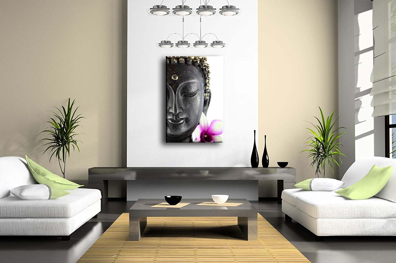 Purple Buddha Statue With White And Purple Flower Wall Art Painting Pictures Print Dropshipping