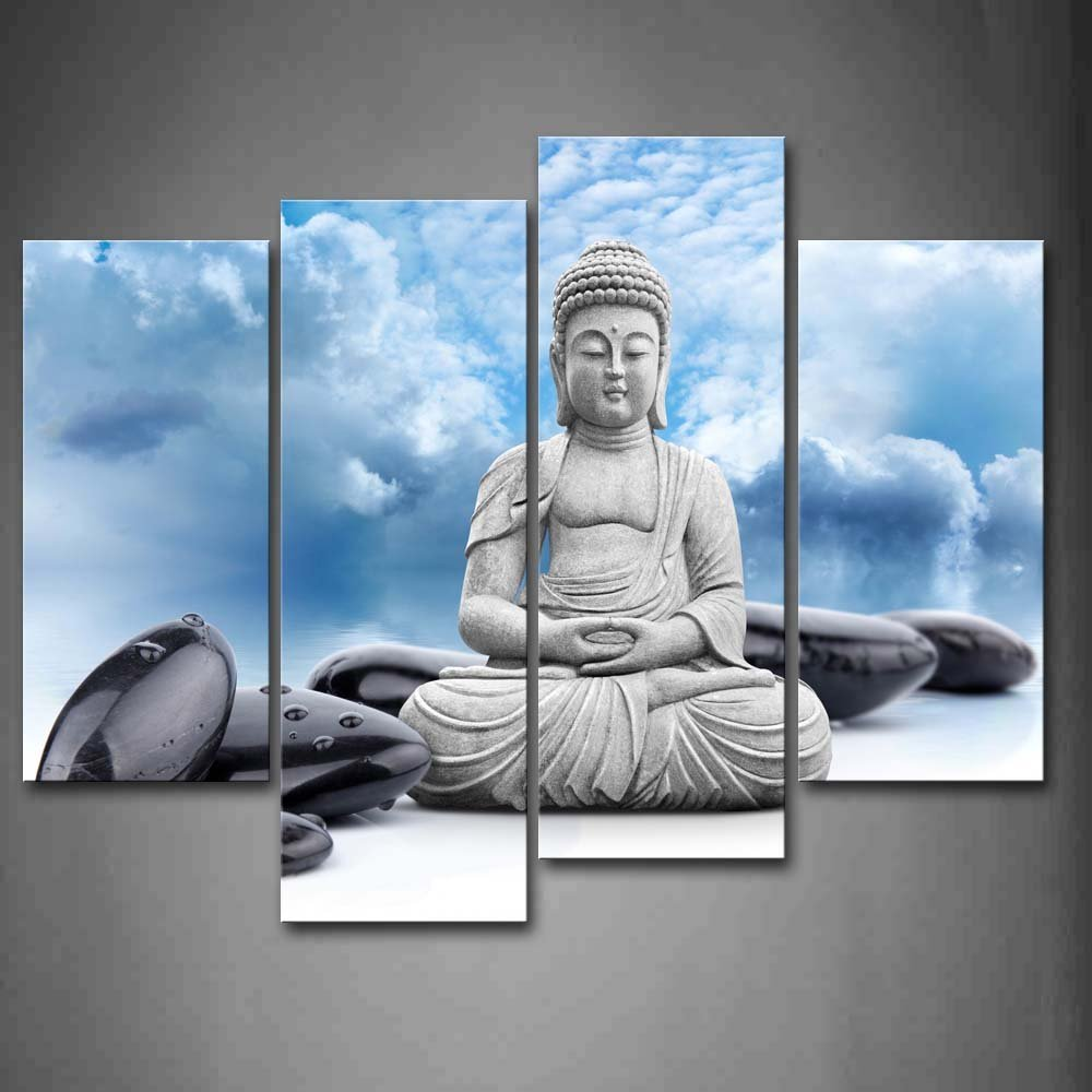 Buddha And Spa Stone In Blue Sky Wall Art Painting Print On Canvas Dropshipping