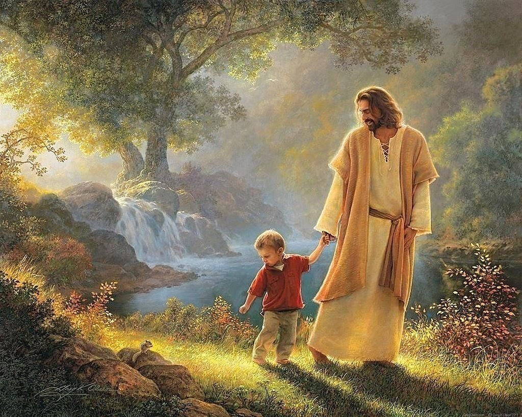 Jesus Walking With Child Wall Art Print Painting for Kitch decor dropshipping