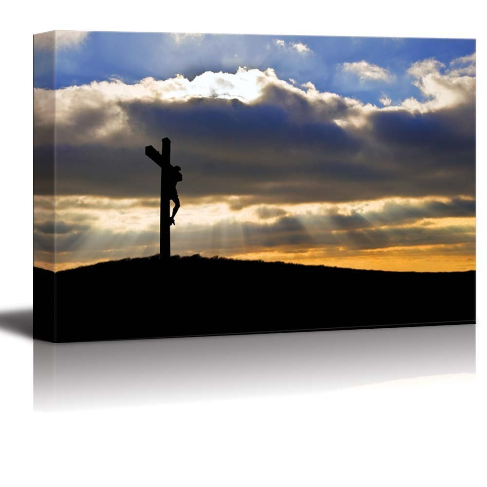 Silhouette of Jesus Christ Crucifixion on Cross Canvas Prints Wall Art Dropshipping