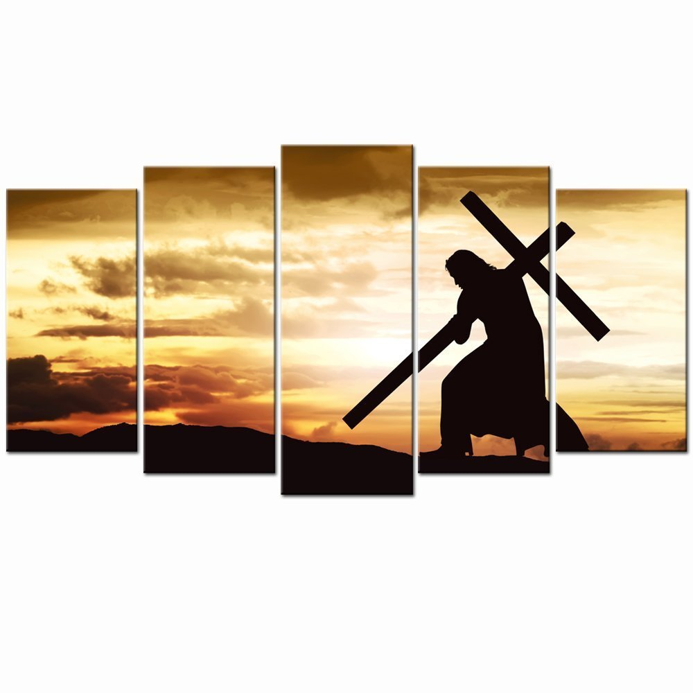 Large Canvas Print Wall Art Silhouette of Jesus Carry Cross on the Hill Picture Prints Dropshipping