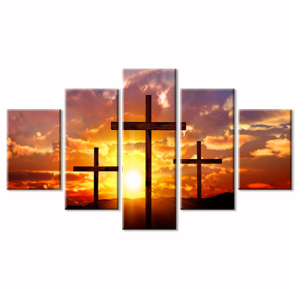 5 Panel Large HD Printed Painting Crosses at Sunset Wall Art Canvas Prints Art Dropshipping