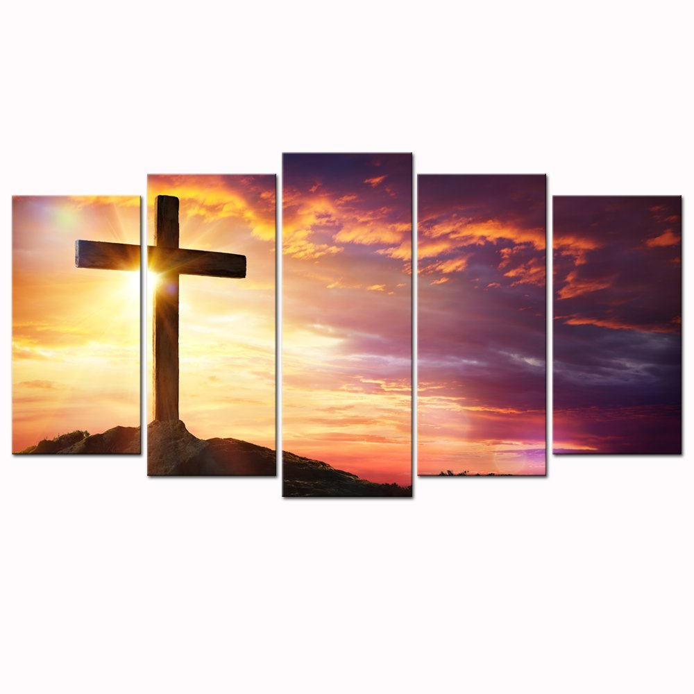 Christian Crosses at Sunset Canvas Prints Wall Art Dropshipping