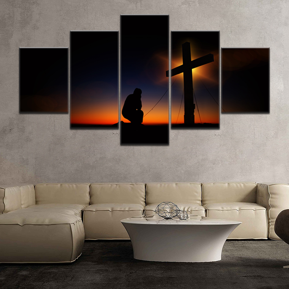 Wall Art bow down Christian Cross in the dusk Picture Dropshipping