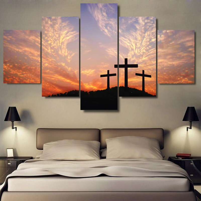 Wall Art photos Christian cross sunset painting on the canvas print Dropshipping