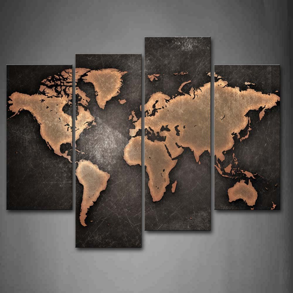 World Map Black Background Wall Art Painting Pictures Print On Canvas Art Dropshipping