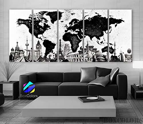 The World Map Black & White Wall Decor Art Canvas Print Dropshipping