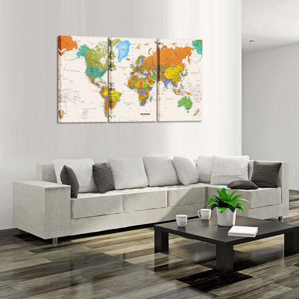 World MAP Canvas Art Premium Canvas Art Print Large Colorful Wall Art Deco Canvas Picture Dropshipping