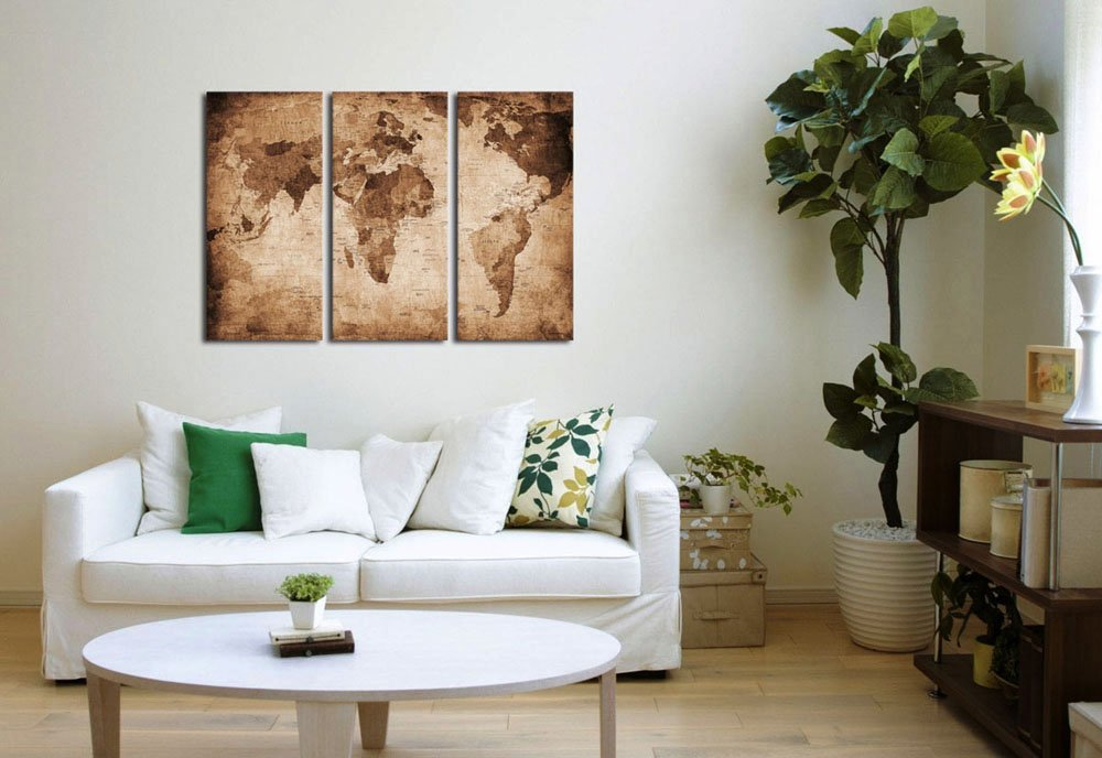 Old Map Canvas Art Retro Antiquated Map Of The World