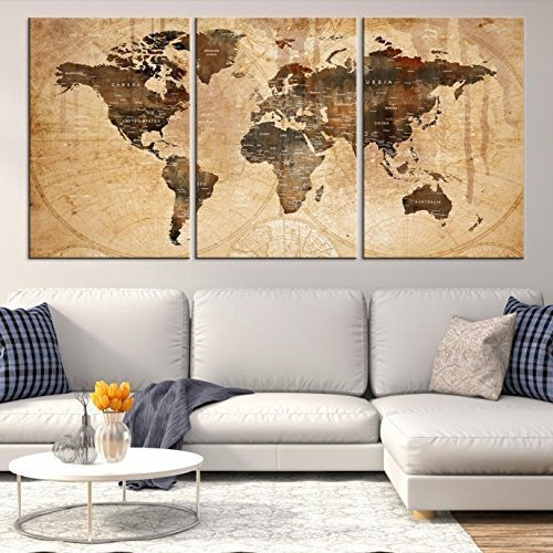 World Map Wall Art, Old World Map Canvas print oil painting drop shipping