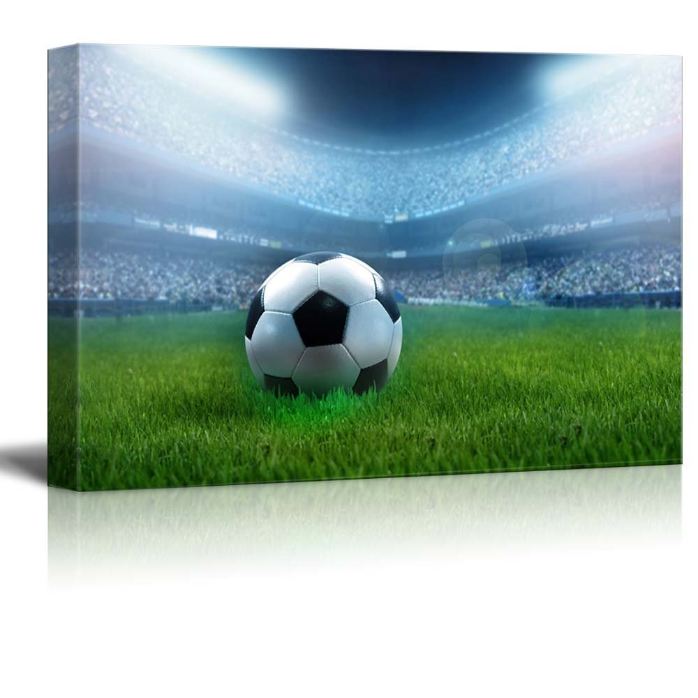 A Football Ball on a Full Stadium (soccer) Canvas Prints Wall Art Drop shipping