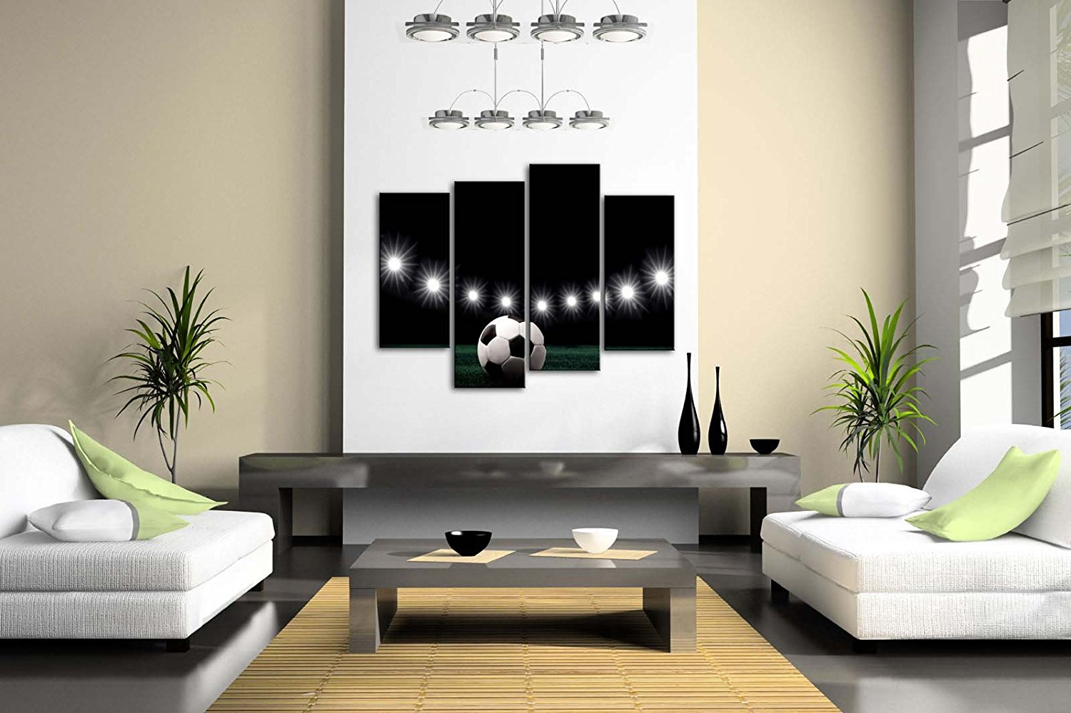 A Soccer and Eleven White Lights Wall Art Painting Pictures Print On Canvas Drop shipping