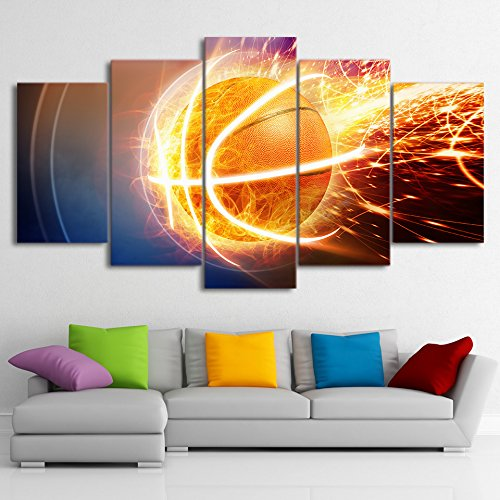 Fire Basketball Painting Canvas Printed Wall Art Poster Drop shipping