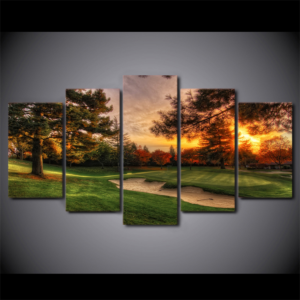 Golf Course Trees Sunset Landscape Poster Wall Art Canvas Painting Prints Drop shipping