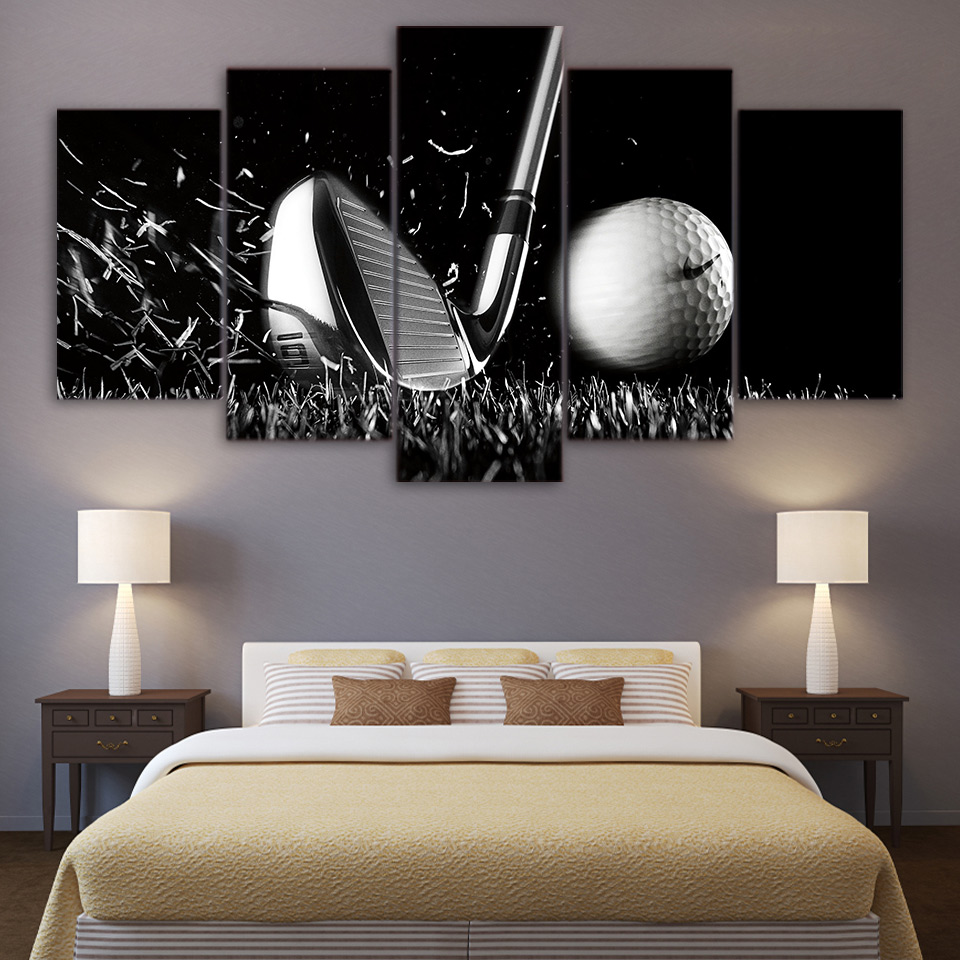 Golf Still life black and white Wall Art Canvas Paintings Printed Drop shipping