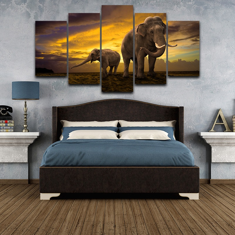 Canvas Wall Art Elephant Family Painting Canvas wall art picture Print Drop shipping