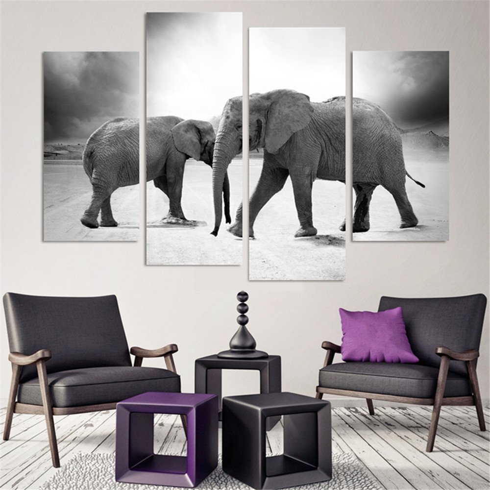 Two Elephants Canvas Wall Art Picture HD print Oil Painting Drop shipping