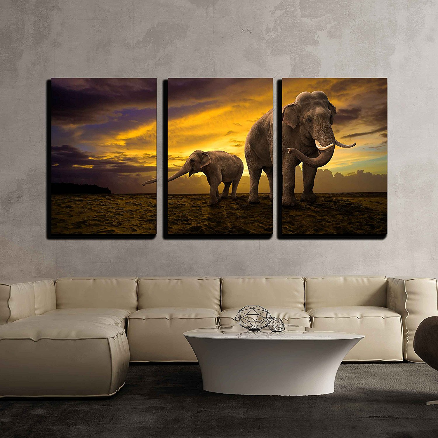 Elephants Family on Sunset Canvas Wall Art Modern Home Decor Drop shipping