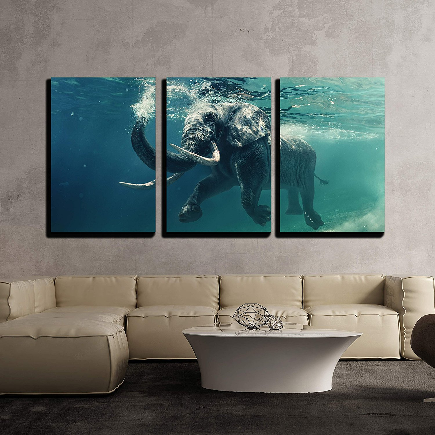 Swimming Elephant Underwater African Elephant in Ocean Canvas Wall Art Drop shipping