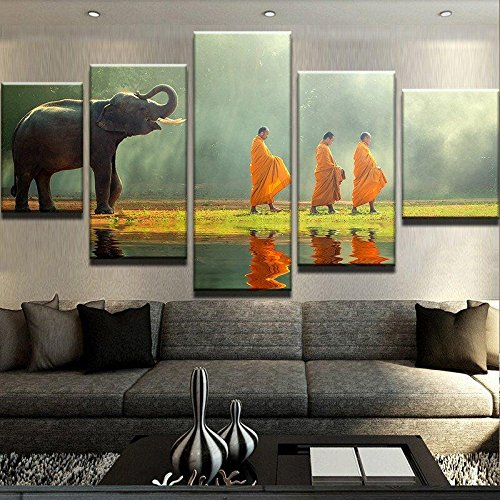 Elephant & Monks Painting Canvas Printed Wall Art Poster Drop shipping