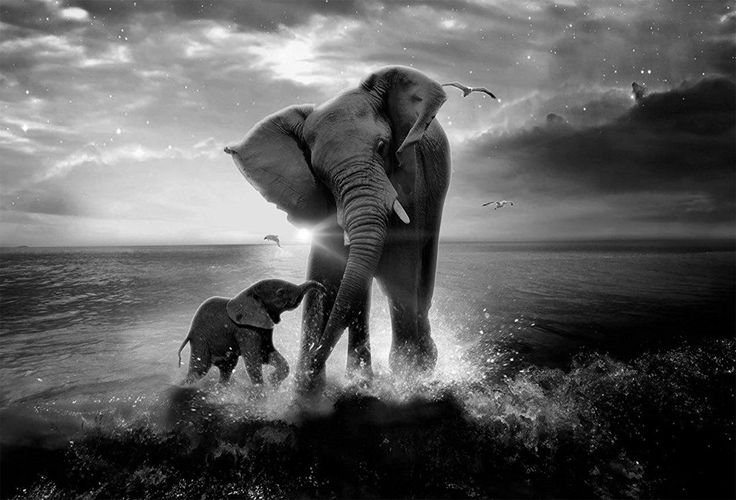 Elephant Mom and Baby Art Canvas Print Modern Wall Decor Artwork Drop shipping