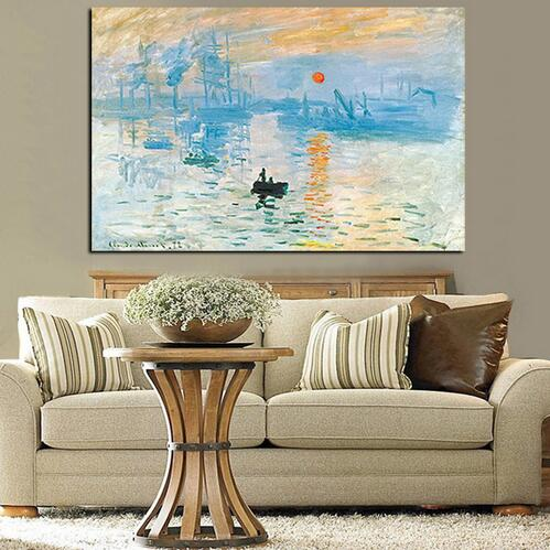 Claude Monet Impression Sunrise Landscape Oil Painting on Canvas Art Wall Picture Drop shipping