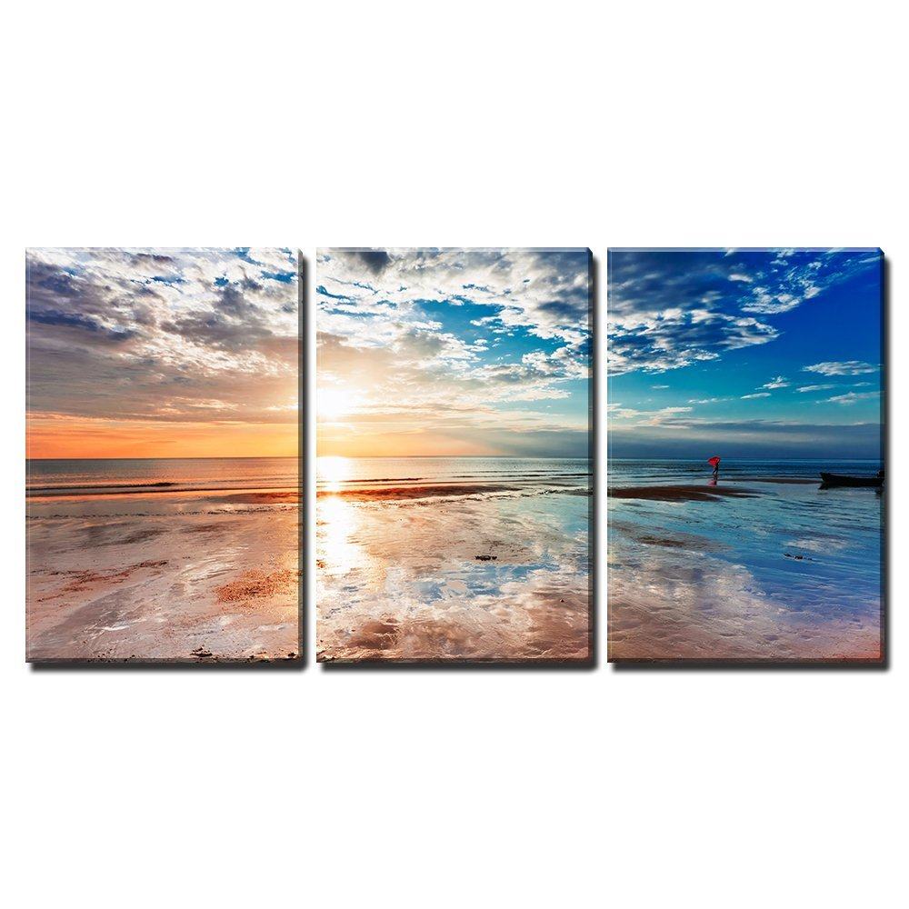 Tropical Beach at Beautiful Sunset  Canvas Wall Art Drop shipping