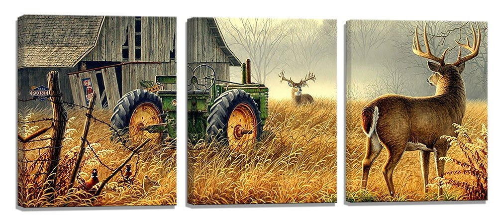 Deer Tractor Picture Print Deer Tractor Picture Print Drop shipping