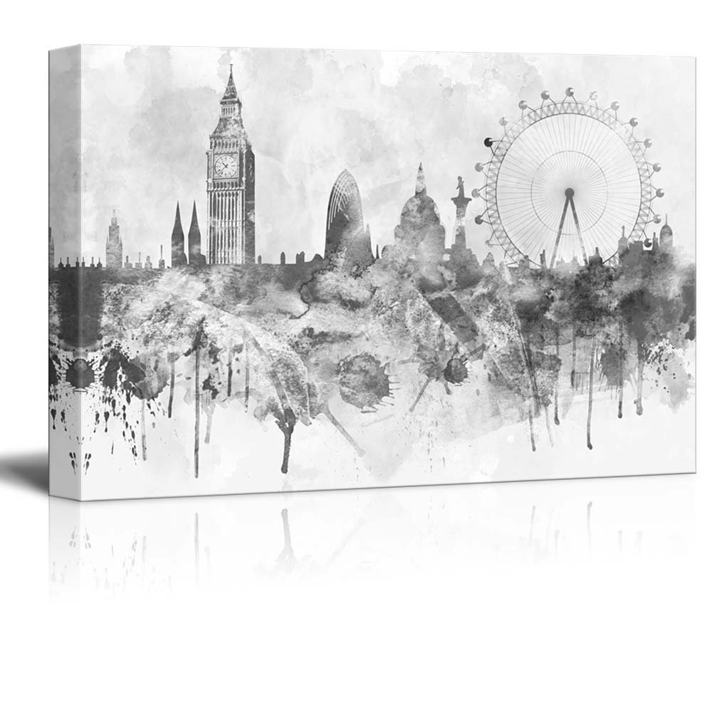 Black and White Big Ben and the London Eye Canvas Print Wall Art Drop shipping
