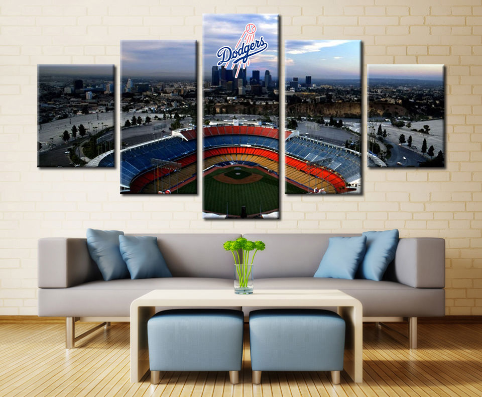 LA Dodgers Stadium Baseball Canvas Print Home Decor Wall Art Drop shipping