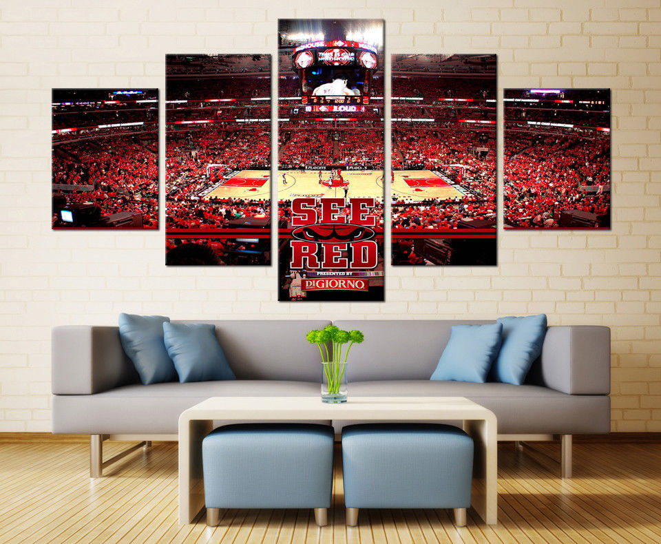 Chicago Bulls Sports Team Stadium canvas art wall decor drop shipping